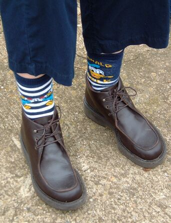 Val's Donald Duck socks were similar, but weren't a pair.